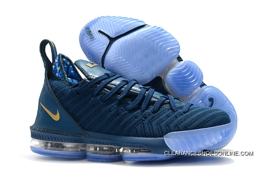 new product 2701b 1022e 2018 Nike Lebron 16 Deep Blue Gold Mens Basketball Shoes Copuon