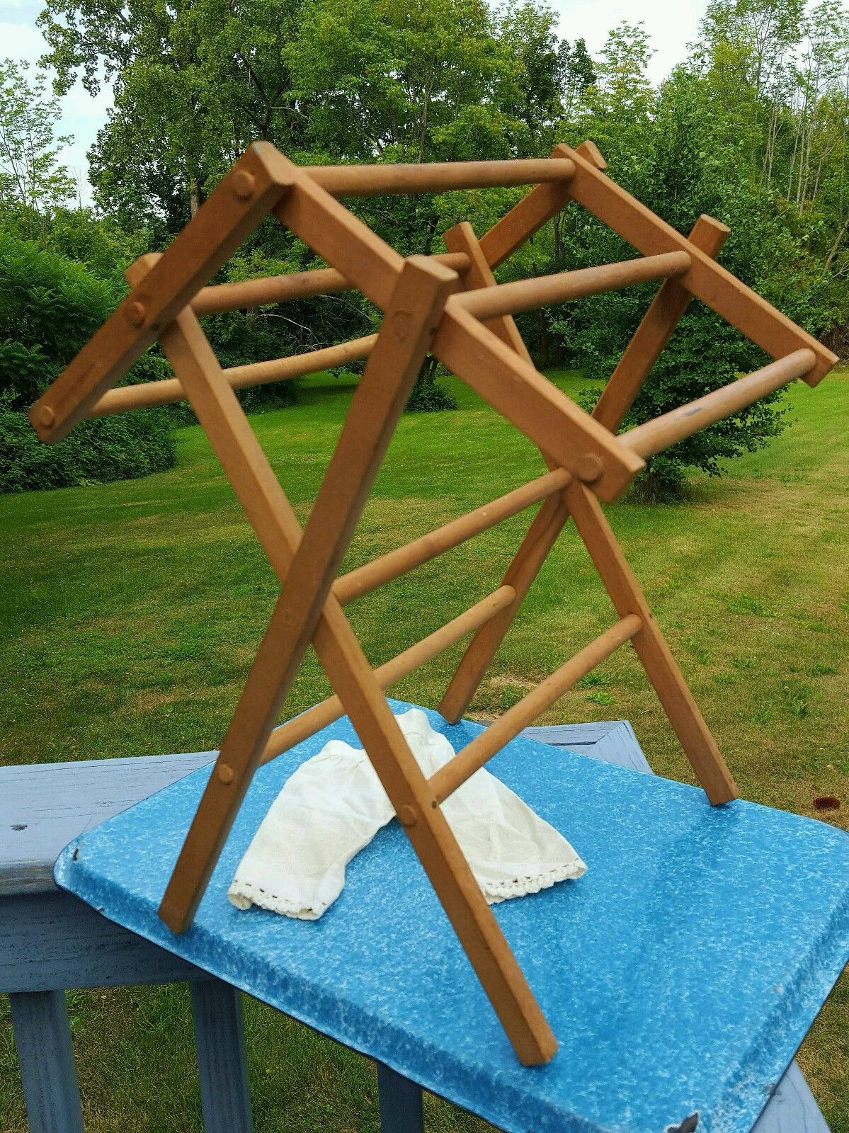 Vintage Child S Doll Toy Wooden Drying Rack Ebay Old