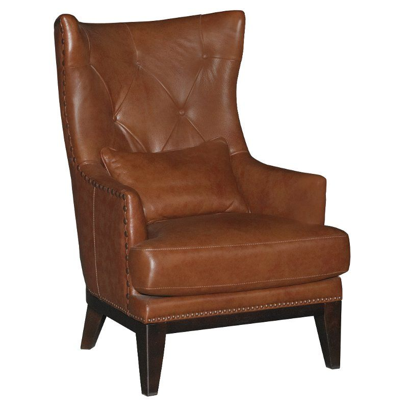 Chestnut Brown Leather Match Accent Chair Ottoman Brewster