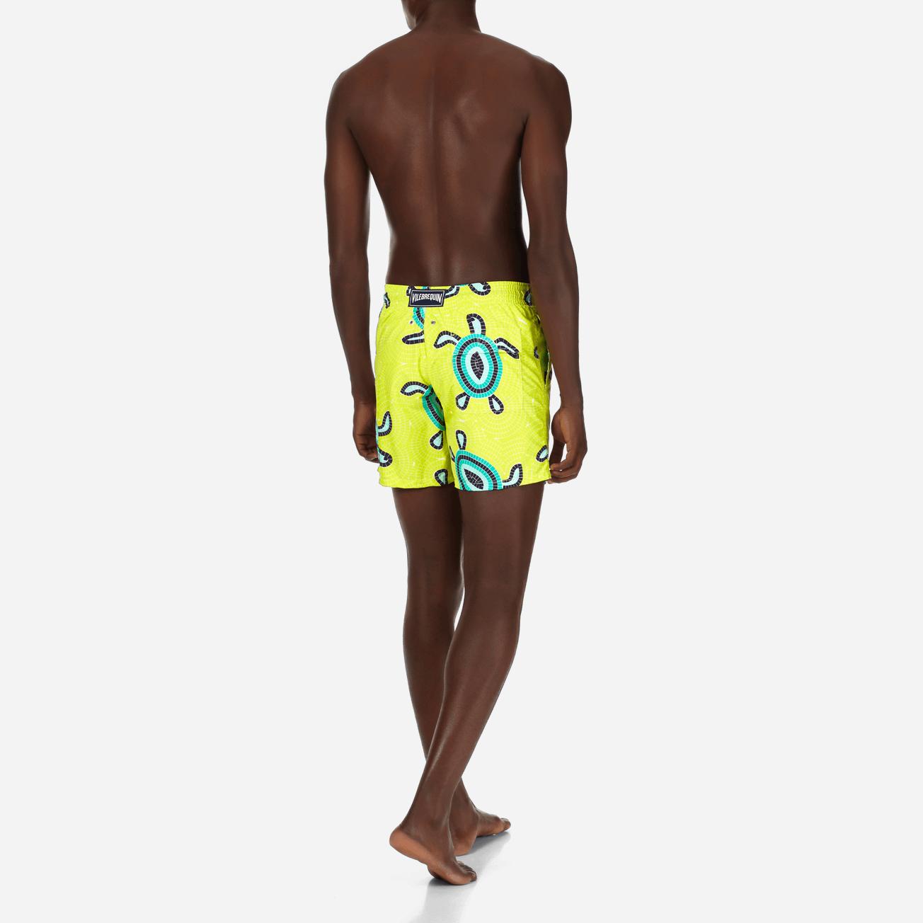 e91fd7afa68 Vilebrenquin Men s Classic   Moorea Printed Swimtrunks Mosaic Turtles in  Chartreuse