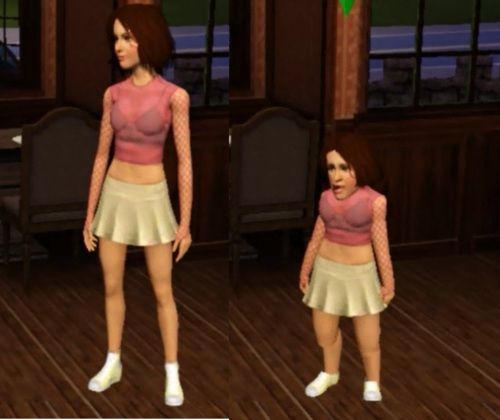 Every time my teenage sim stopped moving she would shrink