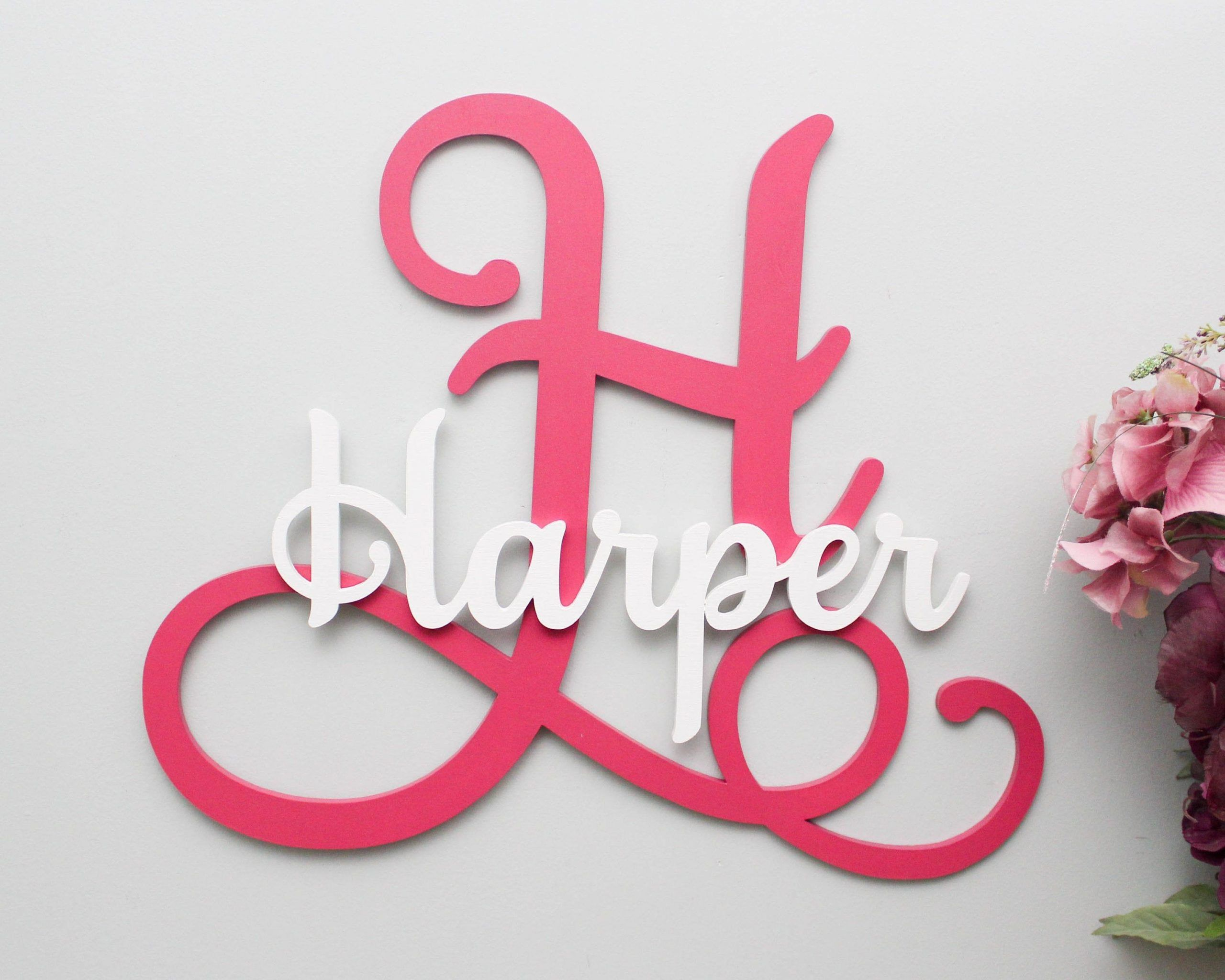 Large Wooden Letters Custom Wood Name Sign Personalized Letters For Nursery Decor Family Name Wood Letters Gallery Wall Decor In 2020 Large Wooden Letters Wood Name Sign Wooden Letters