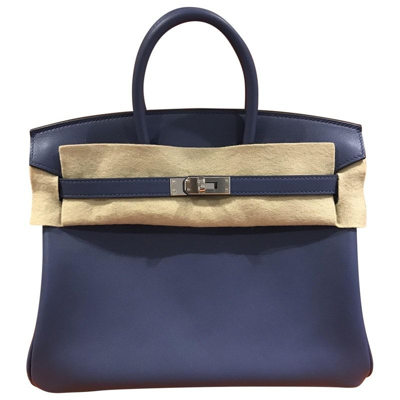 15399d589552 blue Plain Leather HERMÈS Handbag - Vestiaire Collective