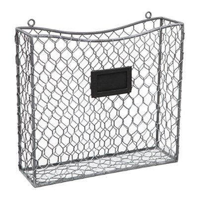 Country Rustic Gray Metal Wire Wall Mounted Magazine File