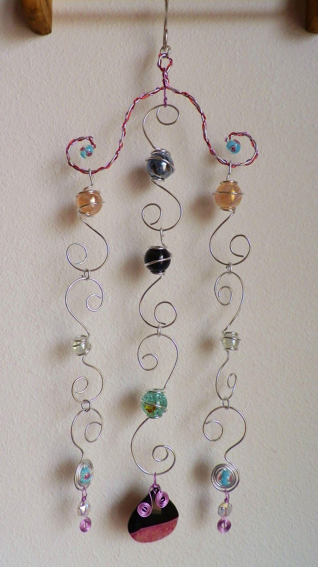 Wire Wrapped Marble Suncatcher Sun Catcher Wind Chimewindow Charm Hazel Glass Eye Silver Wrap Pendant By Kimsjewels On Etsy I Made Work Beads