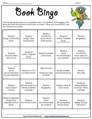Reading Game - Book Bingo | Supplemental School Work | Reading ...