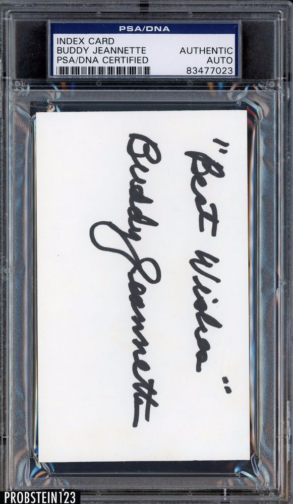 Buddy Jeannette Signed Index Card AUTO PSA DNA Certified Authentic Stock  Photo  Basketball bca104661