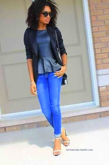 leather peplum w/denim