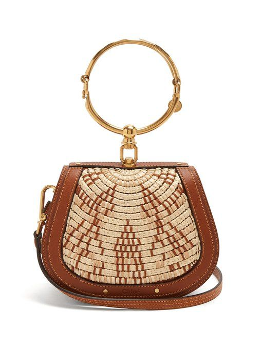 Nile small leather and raffia cross-body bag Chlo eP8MfVZJ