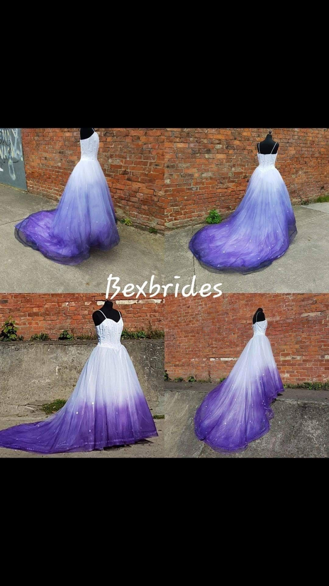 Hand Ombre Vintage Gown By Bexbrides Dip Dye Effect Wedding Dress Purple Wedding Dresses Gowns Dip Dye Wedding Dress Purple Wedding Gown