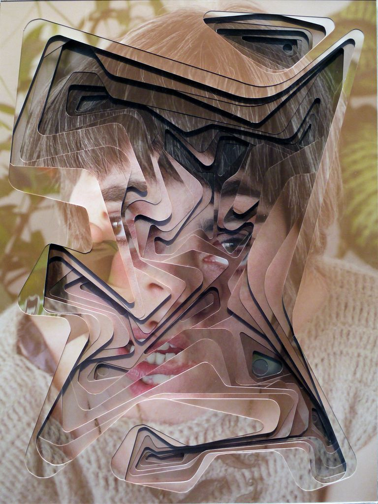 Lucas Simões is an mixed media artist from São Paulo that creates hand cut geometrical portraits through ten layers of photographs