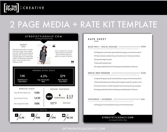 OnePage Media Kit Template  Press Kit Template  Electronic