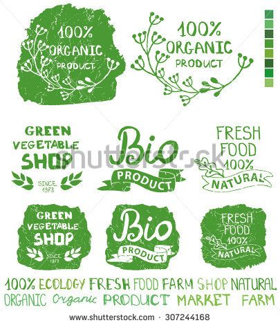 Organic,bio,ecology natural shop logotypes set.Green logo,grunge Badges, labels,ribbons,plants elements and laurels,letters and text.Hand drawing painting design template.Vintage vector
