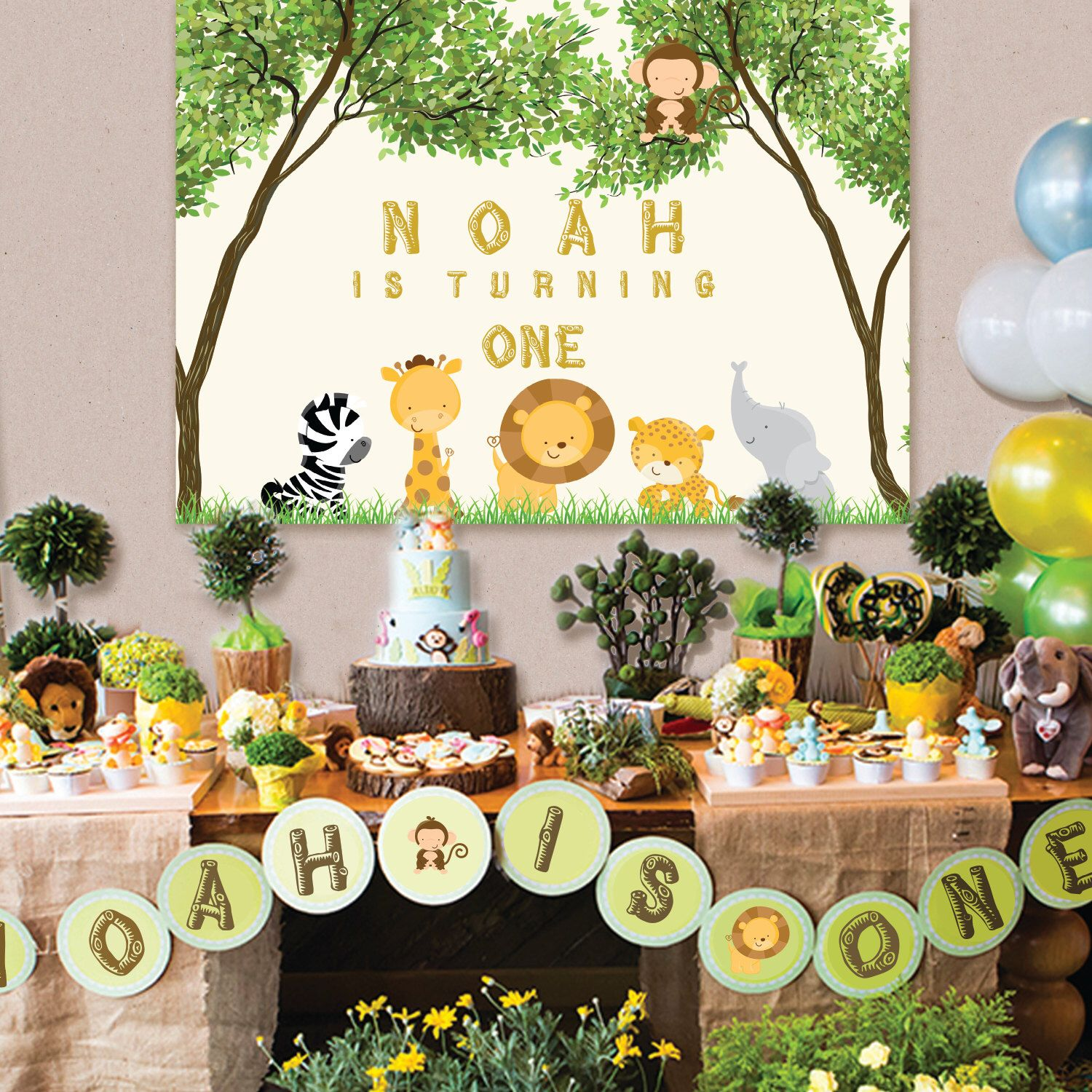 Baby Shower Backdrop, Safari, Jungle Animals, Sign Poster