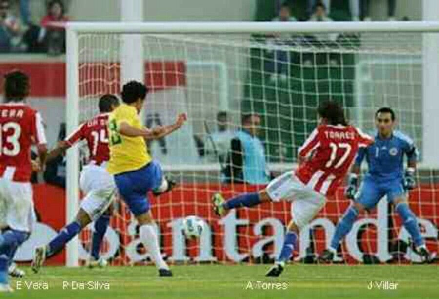 Brazil 2 Paraguay 2 in 2011 in Cordoba. Substitute Fred saves Brazil with a equaliser on 89 minutes in Group B at Copa America.