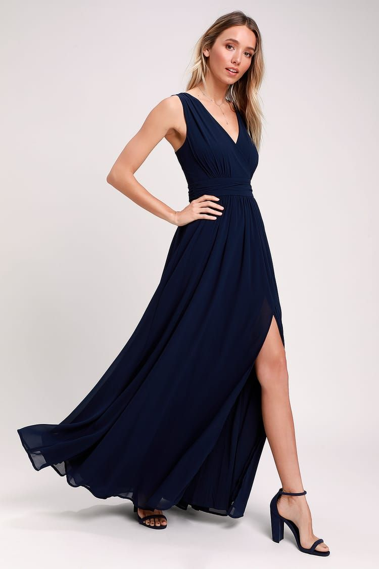 c83b364c4fa Thoughts of Hue Navy Blue Surplice Maxi Dress in 2019