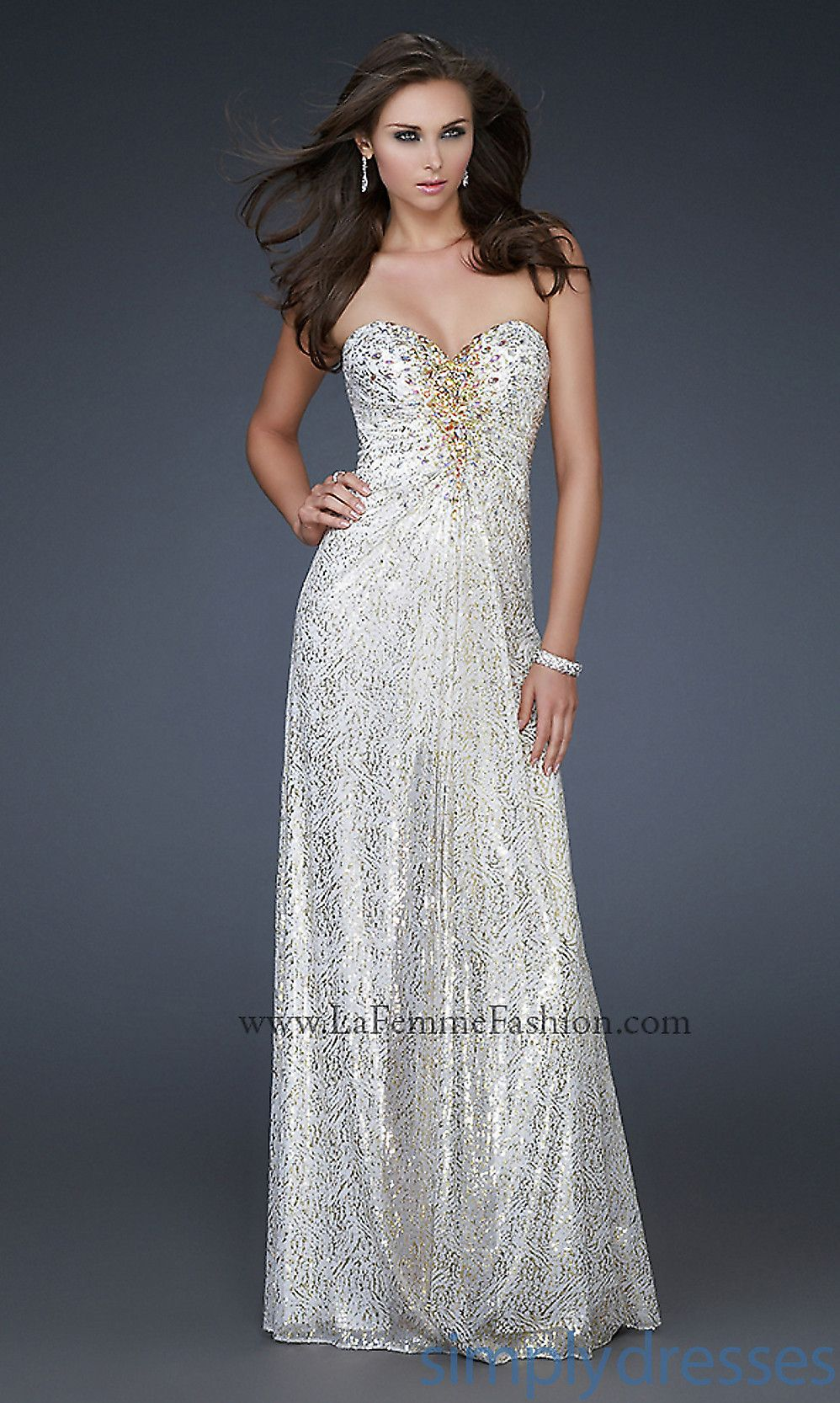 White and gold gowns strapless sweetheart gowns simply dresses