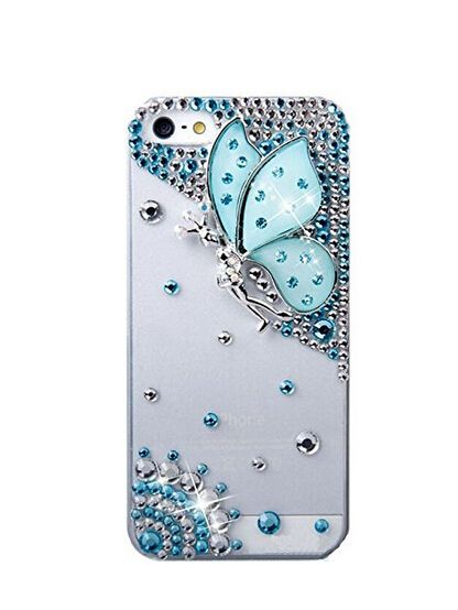 2450a0f0538 Luxury Crystal Rhinestone Diamond Bling Butterfly girl back Cover DIY  handmade Fancy Colorful phone case for iphone 5 5s SE