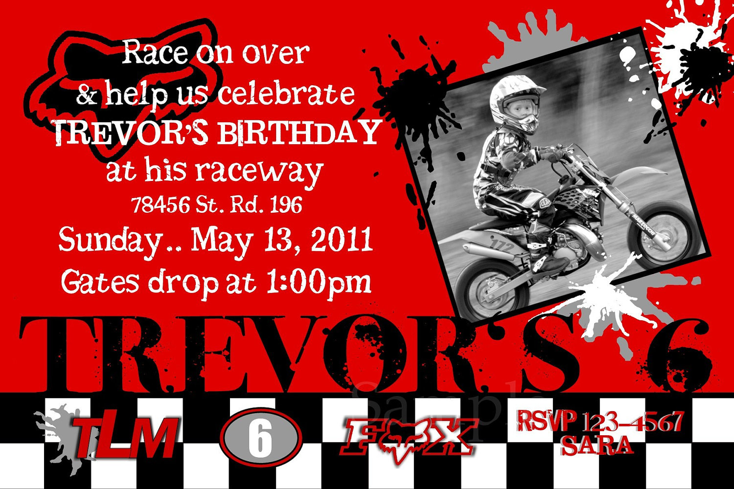 Motocross Invitation Photo Birthday Honda red, Yamaha blue, Kawasaki ...
