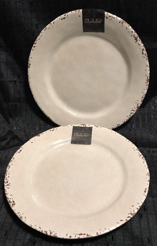 Il Mulino Taupe Rustic Crackle MELAMINE Salad Plates Set Of 2 & Il Mulino Taupe Rustic Crackle MELAMINE Salad Plates Set Of 2 ...