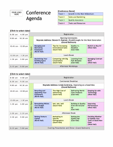 Detailed Conference Agenda Template With Company Logo  Office