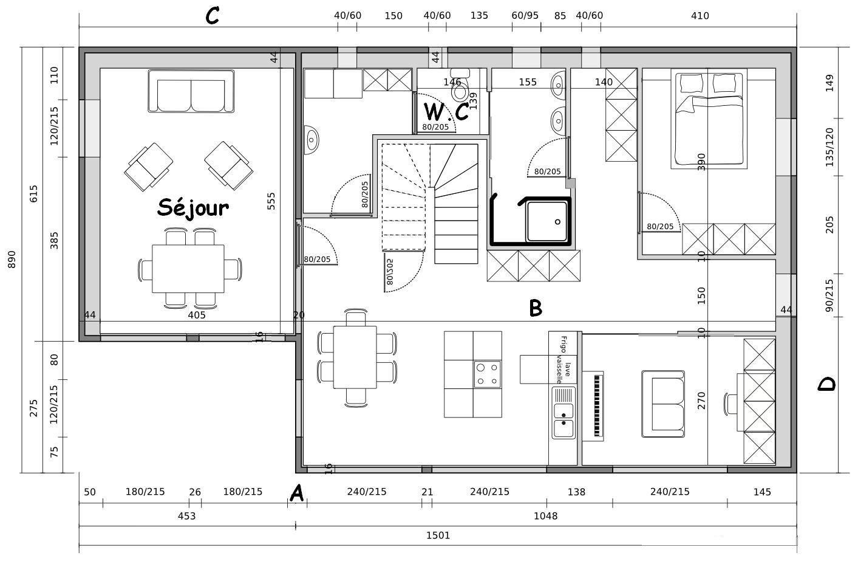 Dessin Technique Batiment Table De Lit Plan De Maison Gratuit Plan De Maison En Longueur Maison Dessin