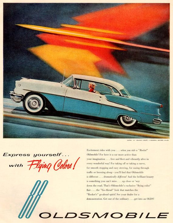 5 x 7 classic Oldsmobile 88 rocket vintage ad by PlatcatDesign