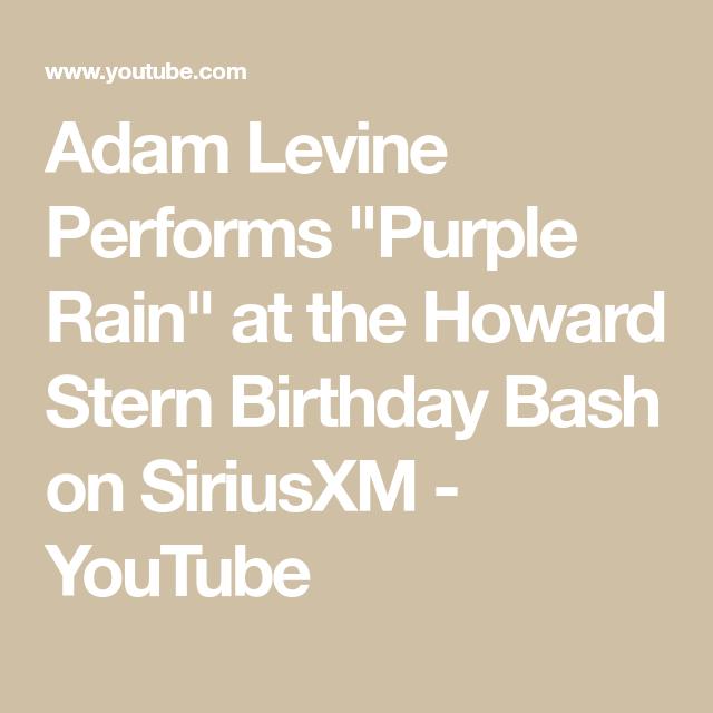 "Adam Levine Performs ""Purple Rain"" at the Howard Stern"