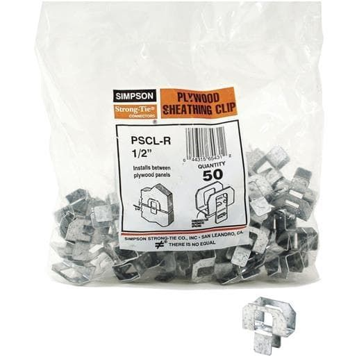 Simpson Strong Tie 50 Bag 1 2 Plywood Clip Pscl 1 2 R50 Unit Bag Contains 10 Per Case Plywood Clips Plywood Panels Plywood
