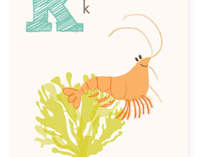 ABC card, K is for Krill, ABC wall art, alphabet flash cards ...