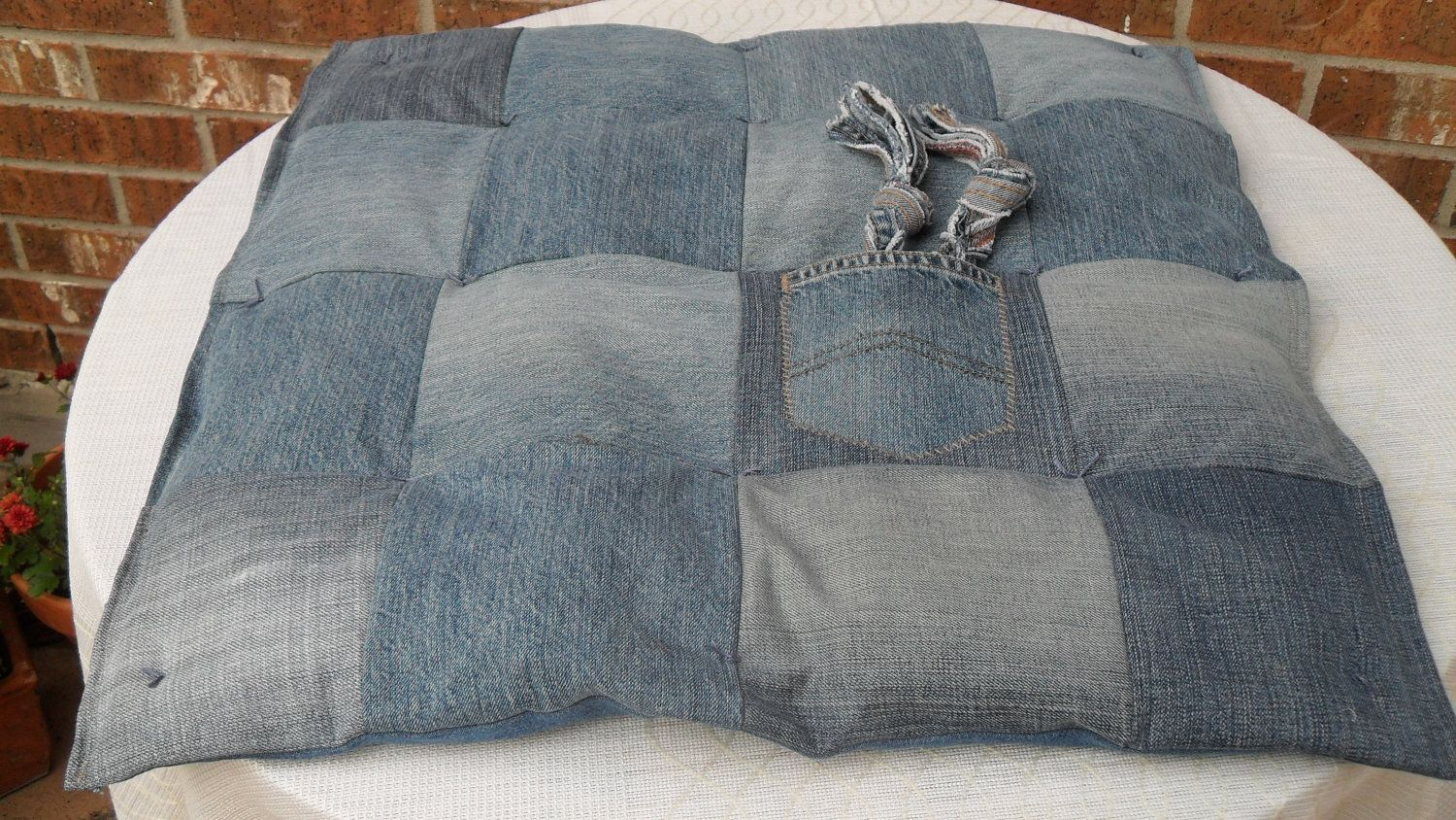 Dog Bed - Recycled Jean Dreams. $27.00, via Etsy.