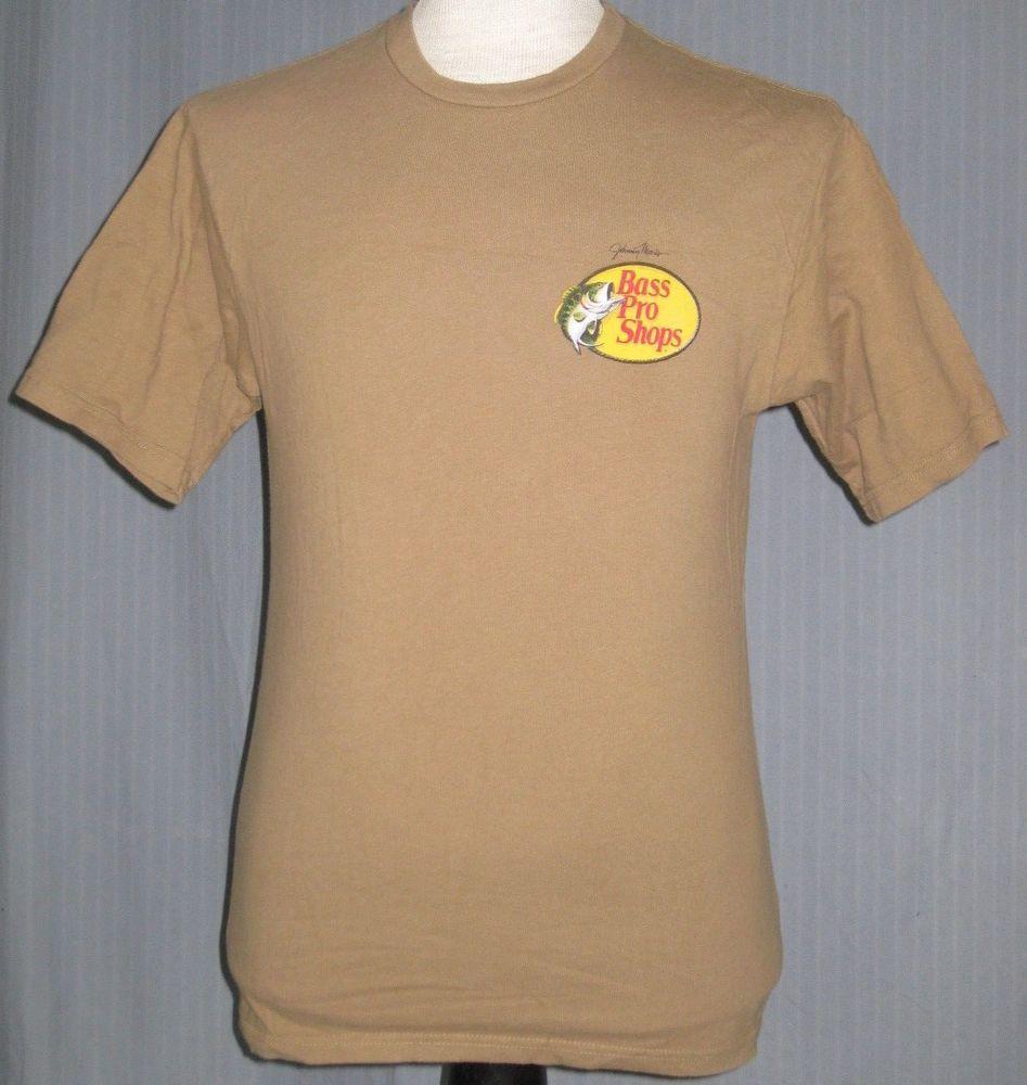 Bass Pro Shops Adult Small Tan Brown T Shirt S Fish Fishing Hunt
