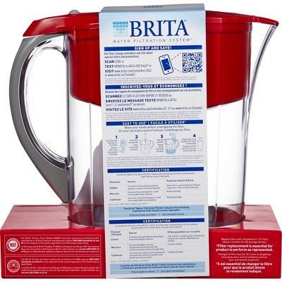 Brita Large 10 Cup BPA Free Water Pitcher with 1 Standard