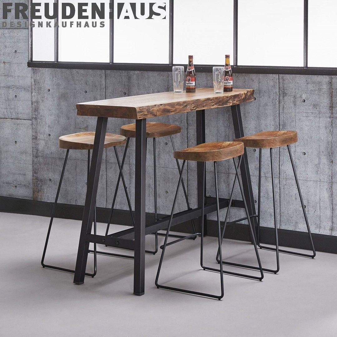 Bartisch Set Wood Akazie Industrial Stehtisch 125 46 4 Barhocker Baumkante Bartisch Deko Tisch Stehtisch