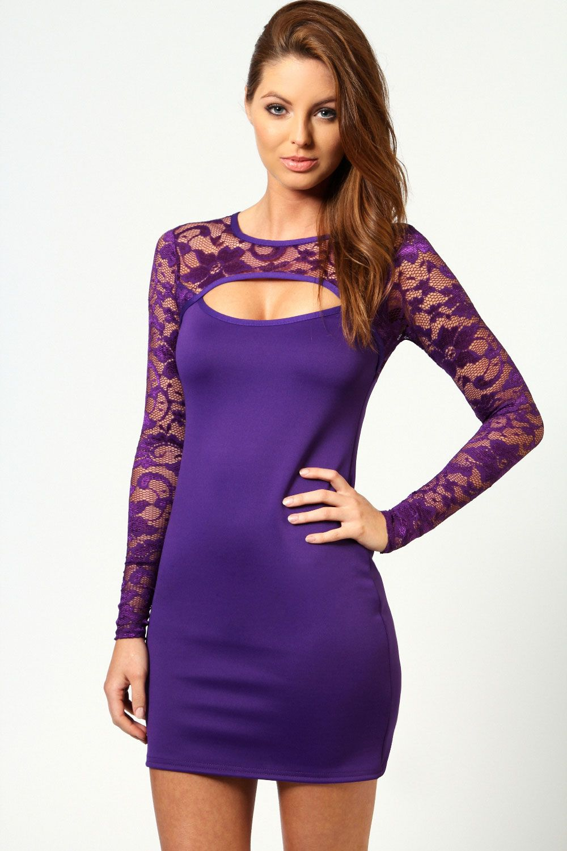 Jasmine long sleeve lace cutout bodycon dress boohoo pin it to win