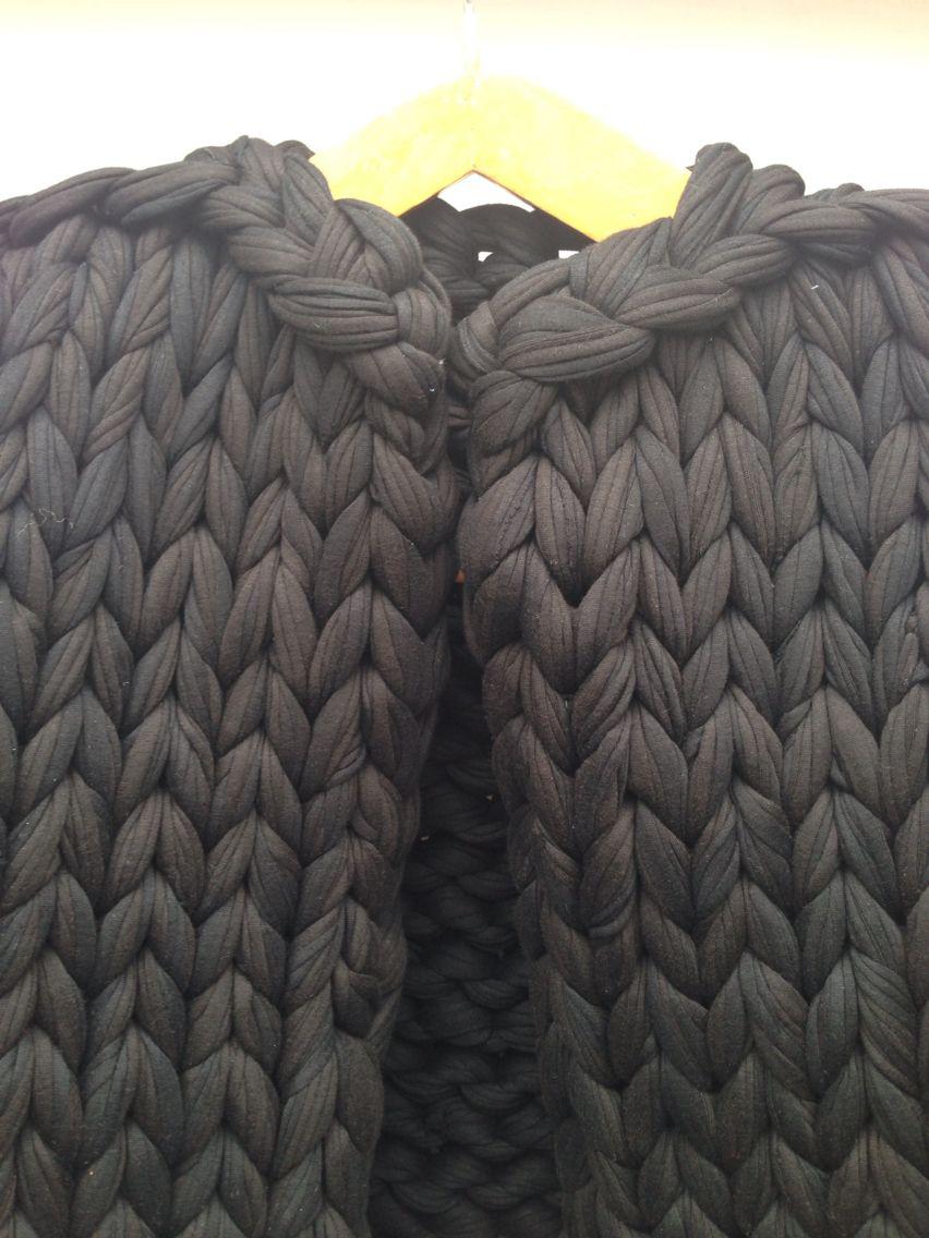 Chunky knitted waistcoat - neckline closeup, by Valentina Desideri. #knitwear #texture #yarns #closeup #chunkyknit #extremeknit #experimentalknitwear #graduatecollection #knitted