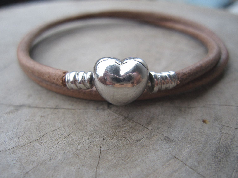 Double Natural Leather Bracelet,925 Sterling Silver Heart Clasp  Braceet,heart Charm Bracelet,