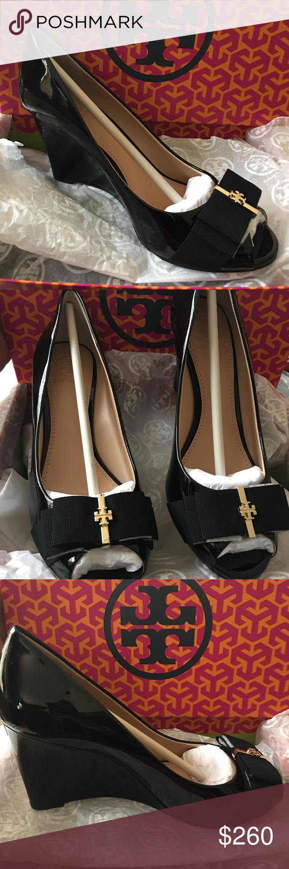 7f0f860d3729 TORY BURCH TRUDY OPEN-TOE DEMI WEDGE 7.0 TRUDY 85MM OPEN TOE WEDGE SOFT  PATENT CALF NEW IN BOX Tory Burch Shoes Wedges