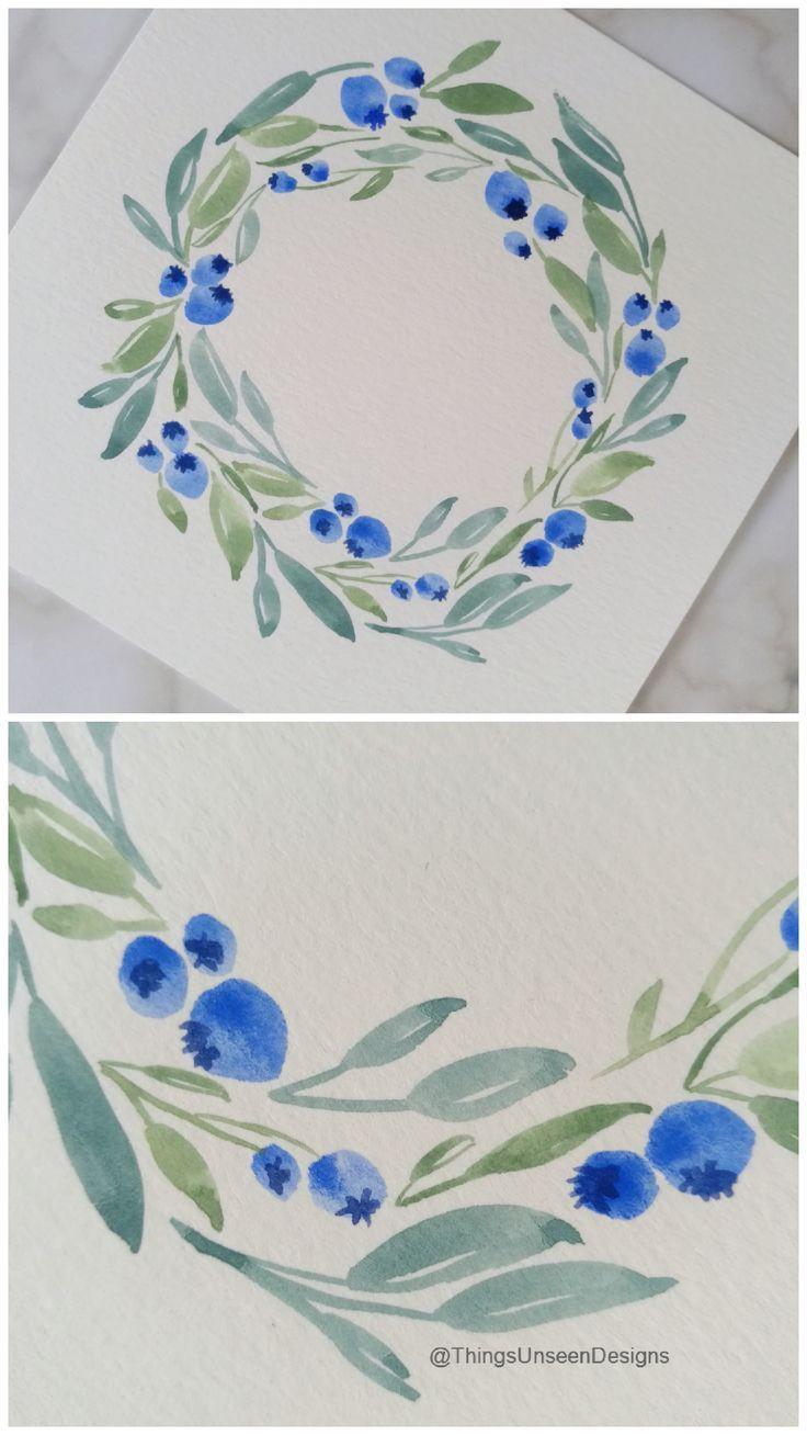 Photo of Aquarell-Blaubeerkranz-Malerei – #Blueberry – Blumen Natur Ideen