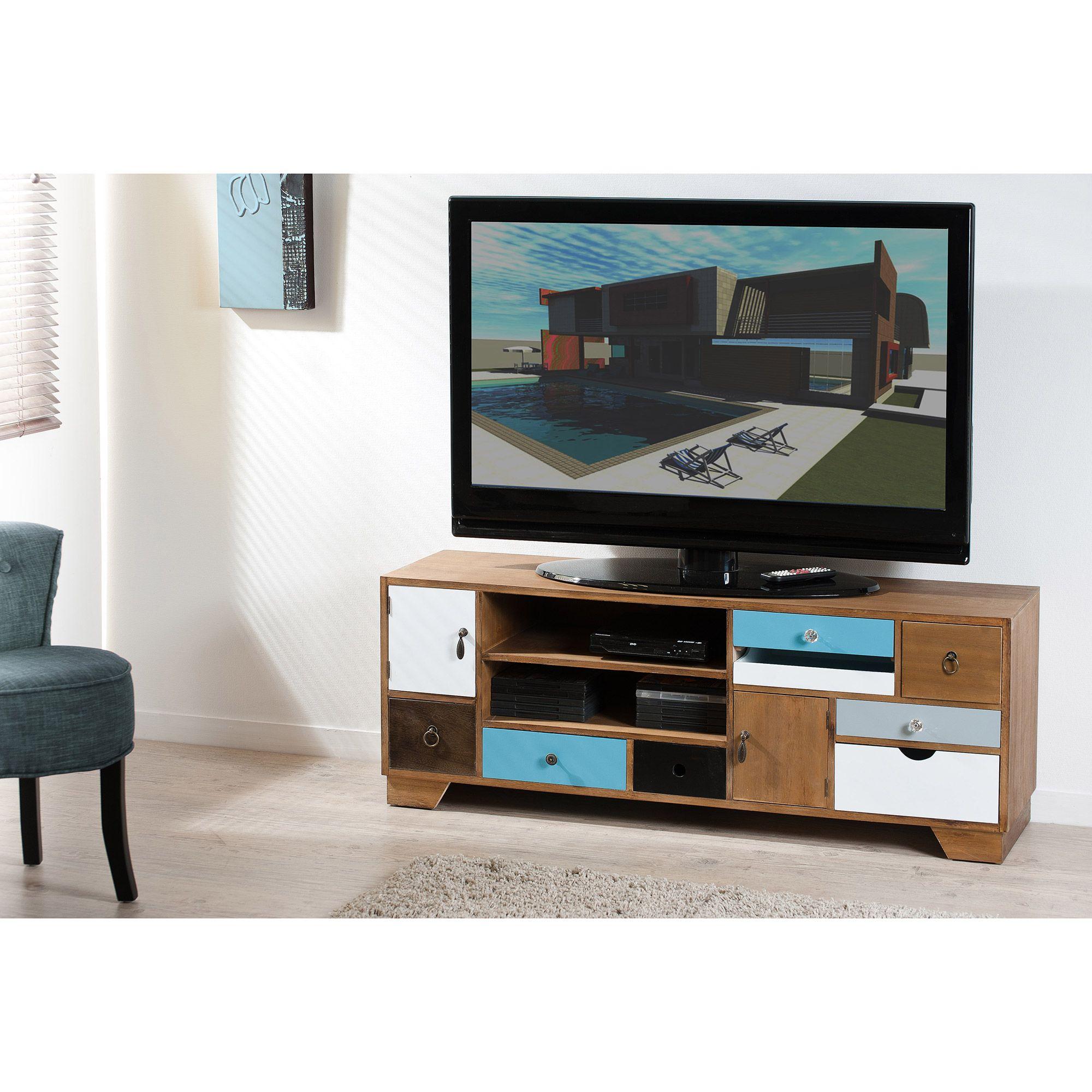 meuble tv bas multi rangements en bois l122cm marius port offert vintage scandinave. Black Bedroom Furniture Sets. Home Design Ideas