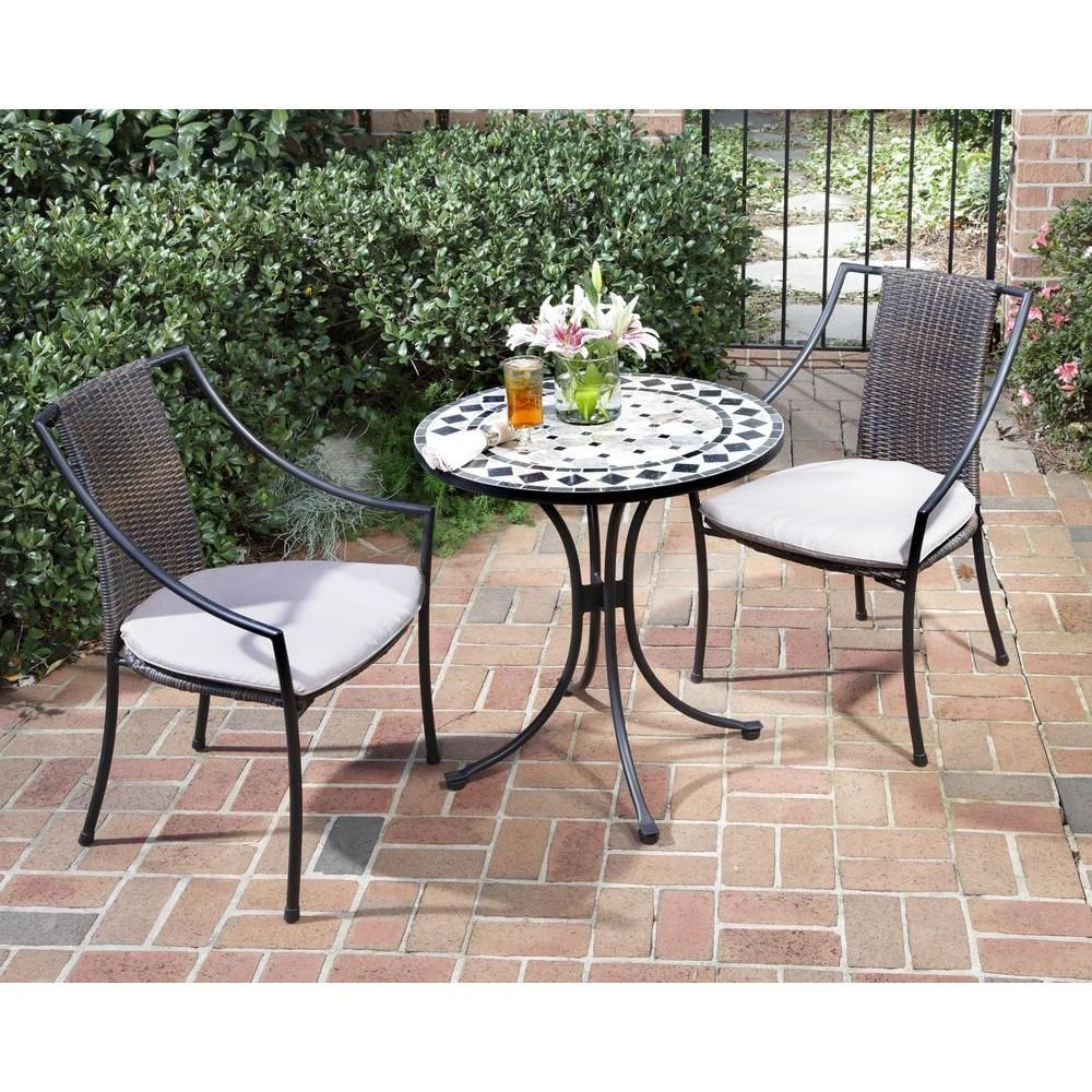 Homestyles Black And Tan 3 Piece Tile Top Patio Bistro Set With Taupe Cushions 5605 340 The Home Depot In 2020 Bistro Patio Set Bistro Table Outdoor Outdoor Bistro Set