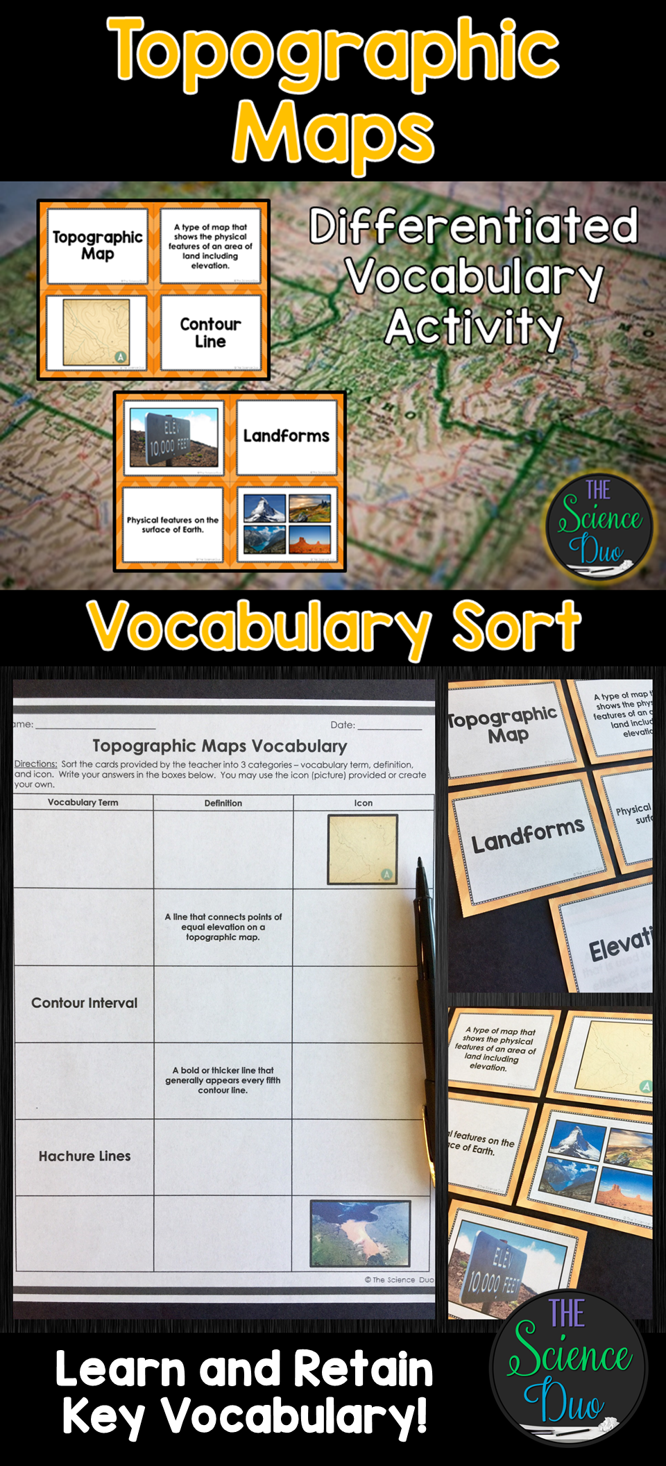 Topographic Maps Vocabulary Sort Vocabulary, Science