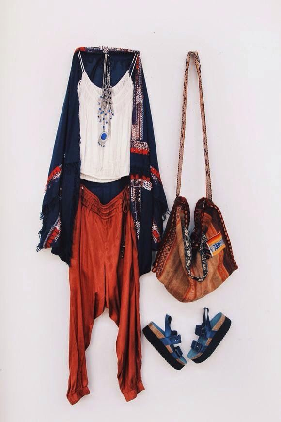 •{{Boho Relaxed Travel Outfit}}•{{Orange Harem Pant, Pattern Slouch Bag, Pla... 1