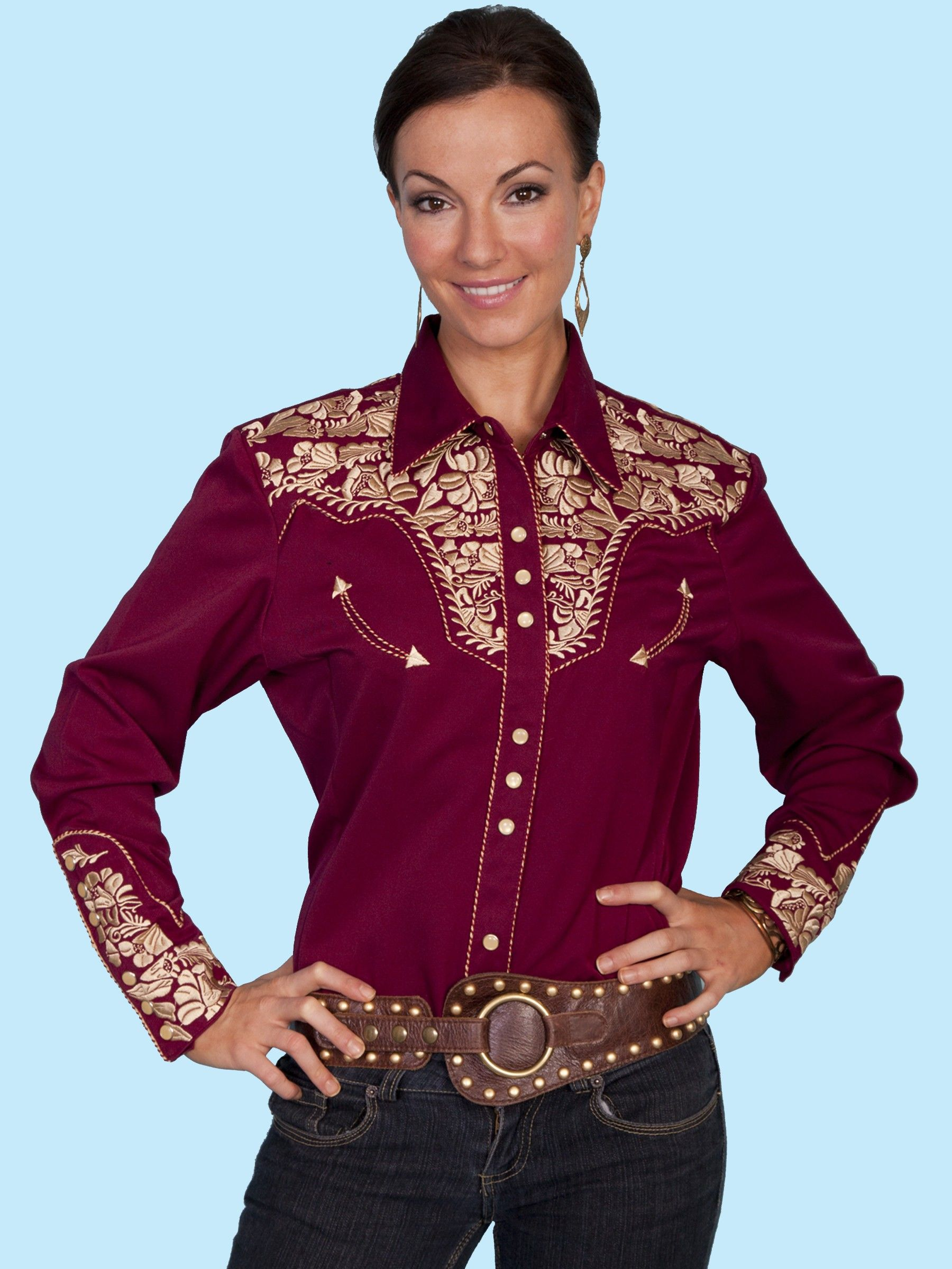 e32c976d381 Scully® Womens Burgundy and Gold Embroidered Yoke LS Western Show Shirt