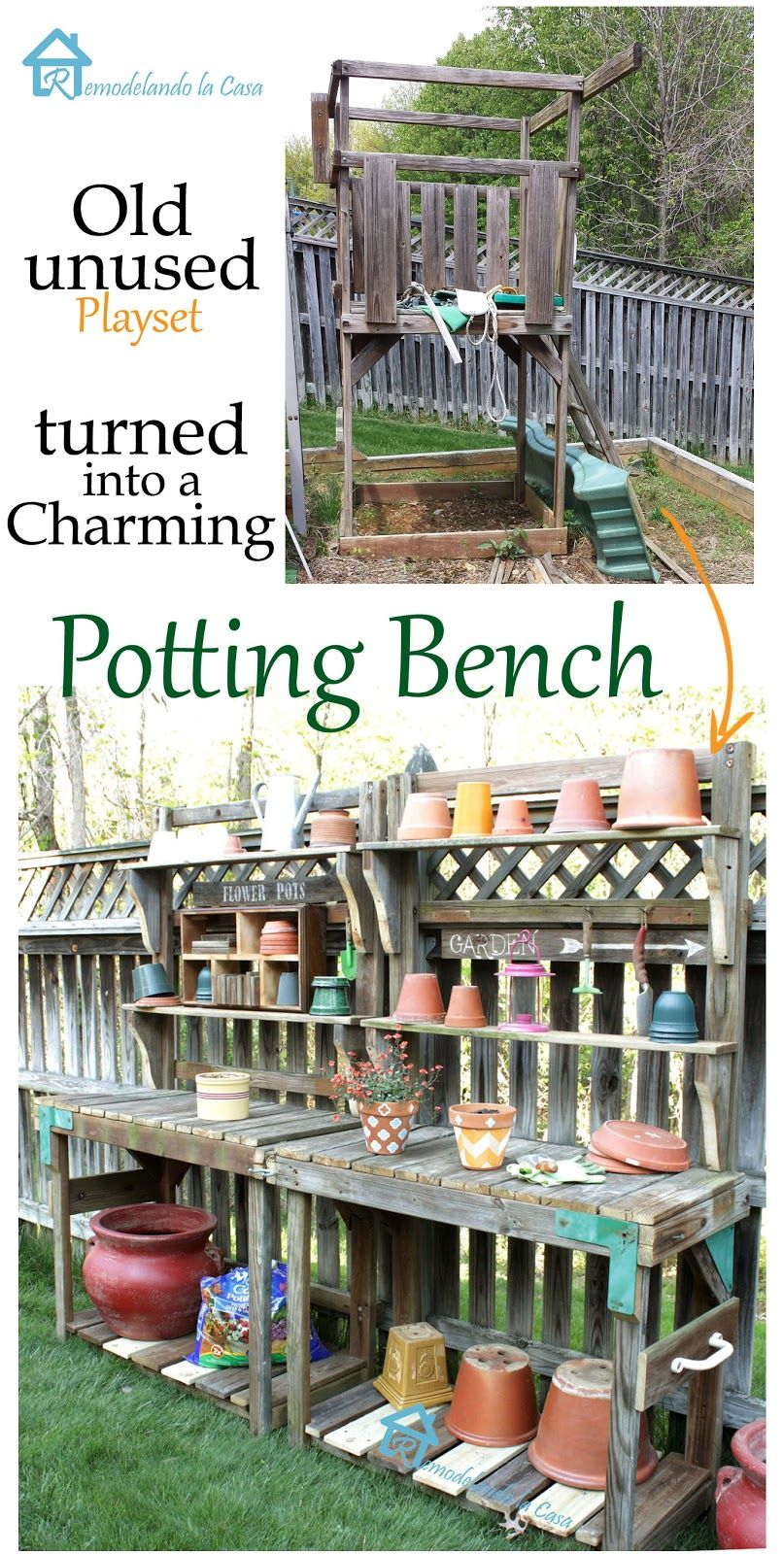 Repurposing a playset into a potting bench bench gardens and yards