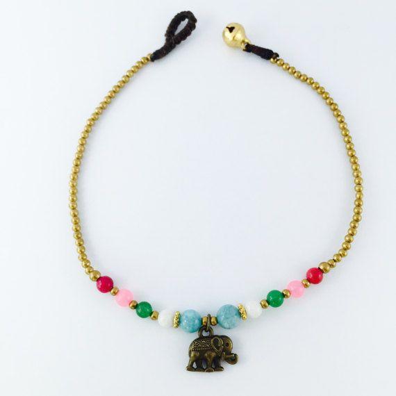 Black Onyx Gemstone Beads Elephant Charm Anklet Ankle Bracelet Fashion Jewelry