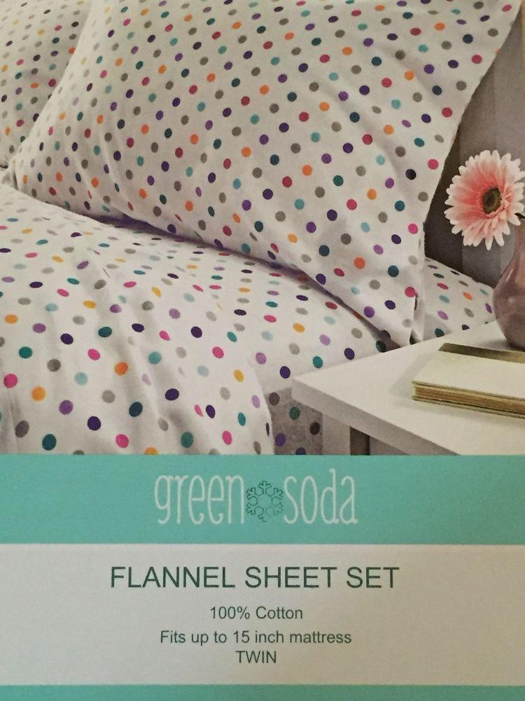 Twin Sheet Set Flannel 100 Cotton Polka Dot Purple Gray Blue