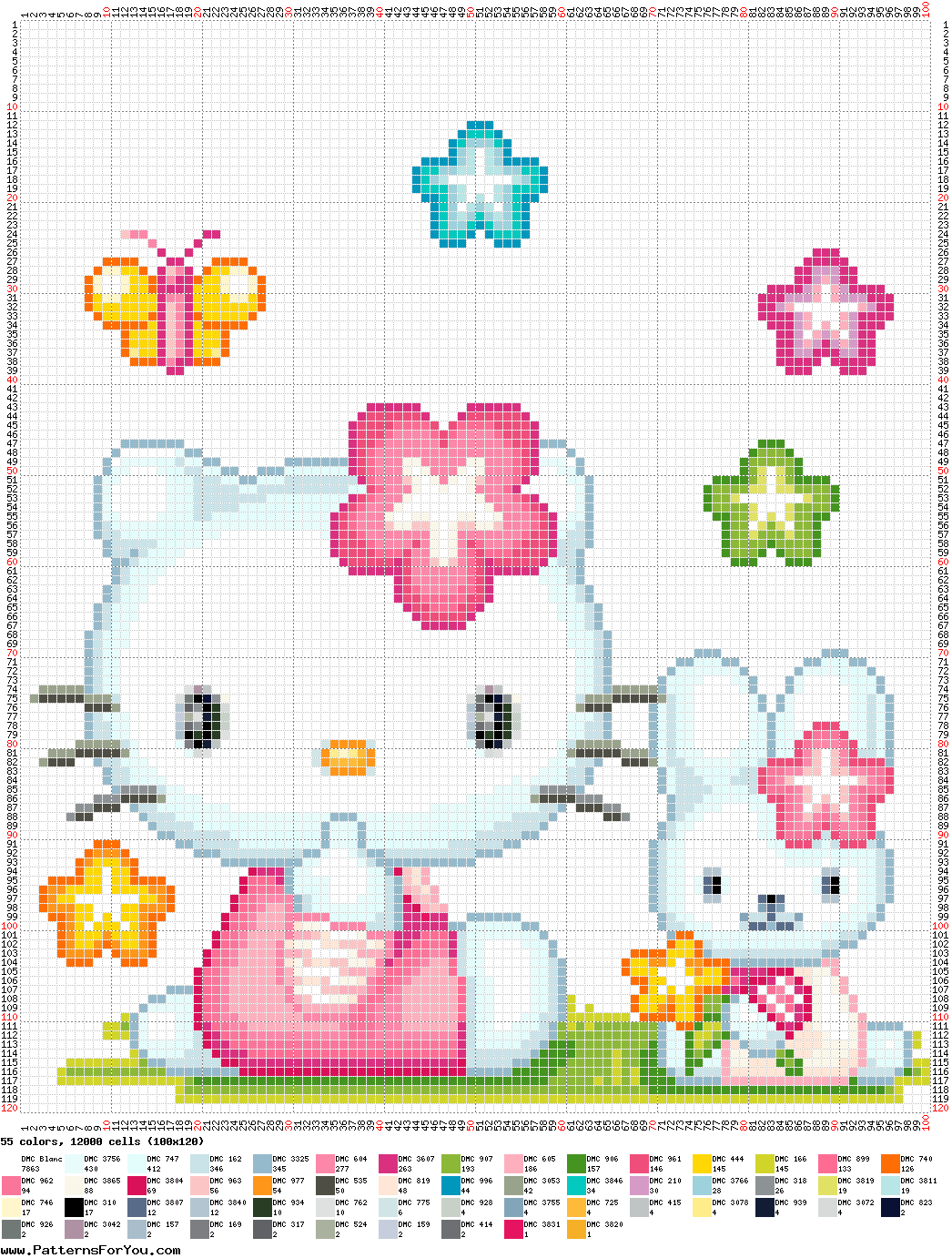 Cross Stitch Cat Patterns With Simple Graph Pictures Just