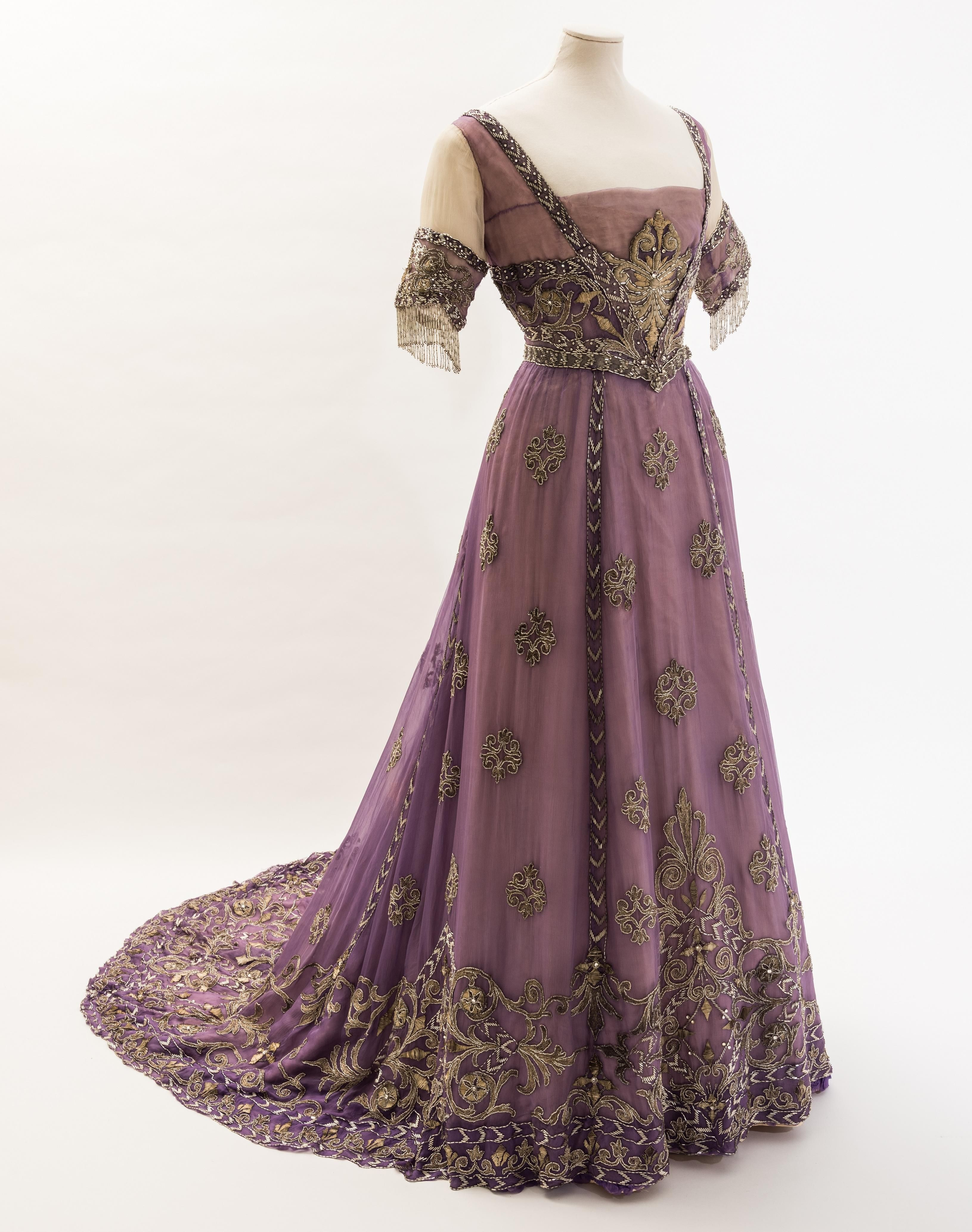 c.1910 Embroidered chiffon evening dress by Doeuillet, Paris, for ...