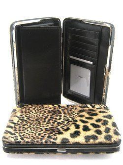 "Animal Print 1"" Thick Flat Wallet Clutch Purse Leopard Zebra Cheetah Brown scarlettsbags. $18.99"